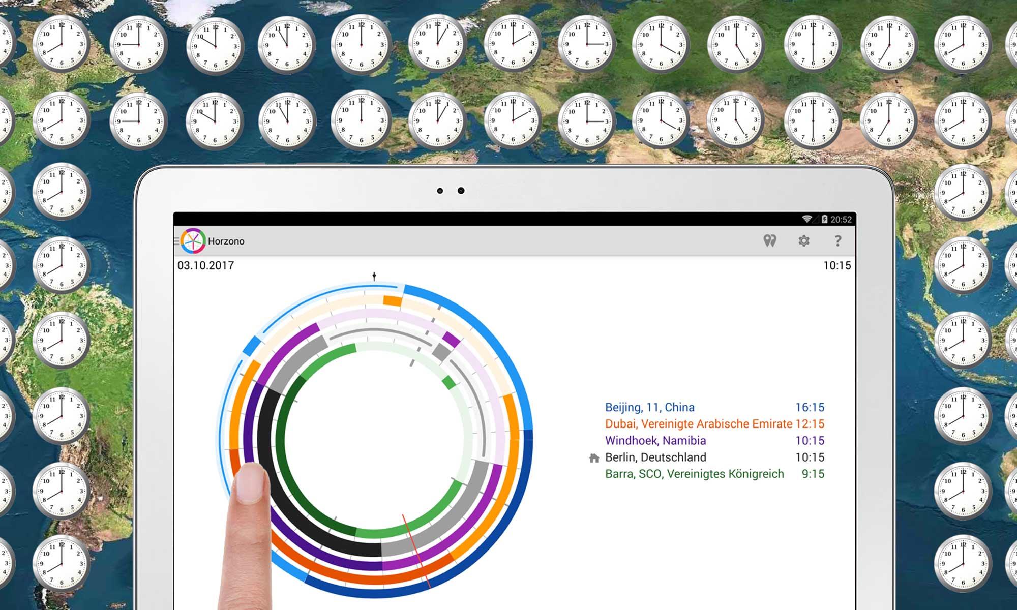 Beispiele für die visuelle Vergleich der Zeit an verschiedenen Orten auf der Welt, jede Stadt mit eigenen Zeitzone, mit der Horzono App von Prosults Studio