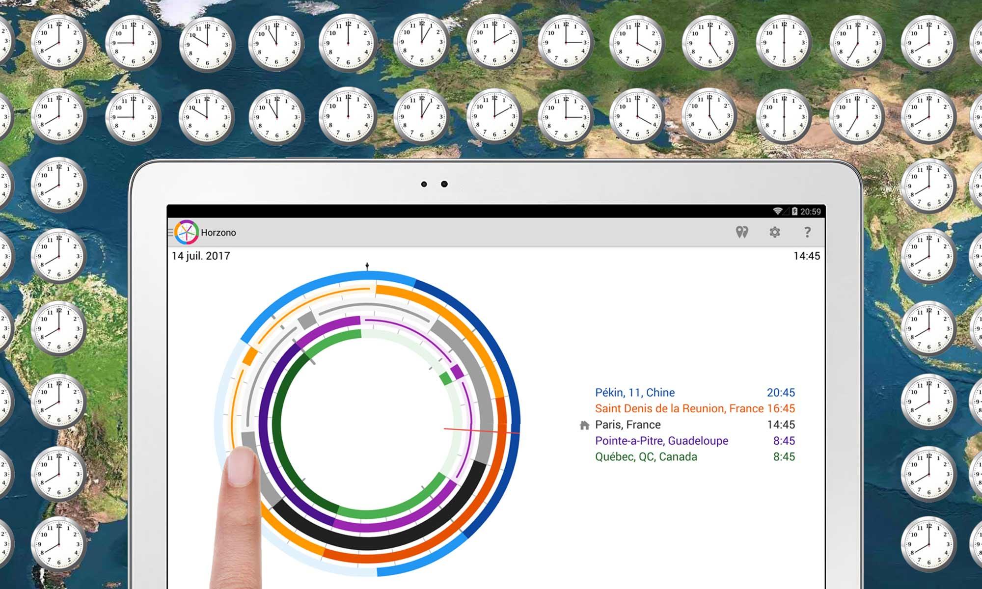 des exemples de comparaison visuelle du temps dans différents endroits du globe, chaque ville ayant son propre fuseau horaire, avec l'application Horzono de Prosults Studio