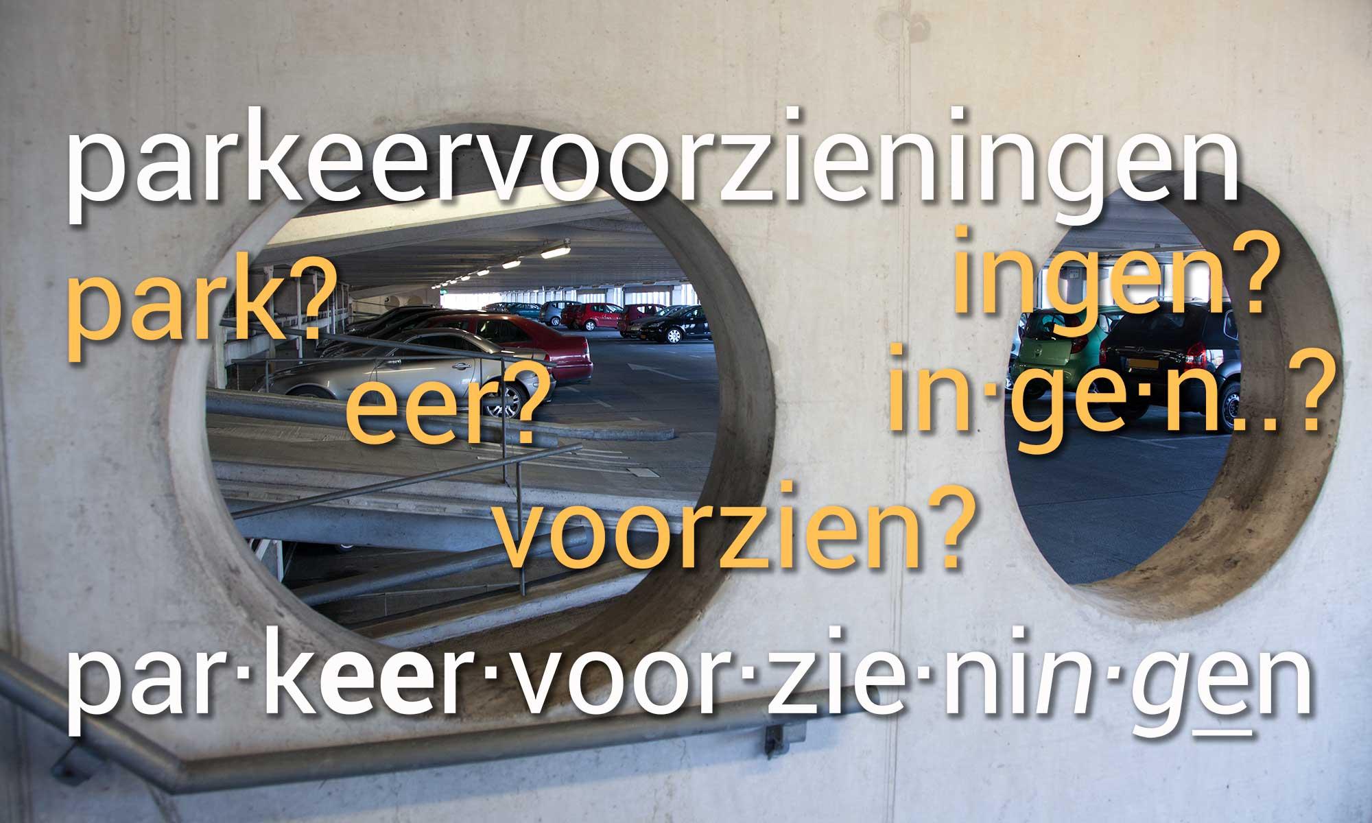 Beispiel für die Aufspaltung eines langen holländischen Wortes in Silben; lernen, jedes Wort in der niederländischen Sprache mit der App aus Prosults Studio zu hemmen