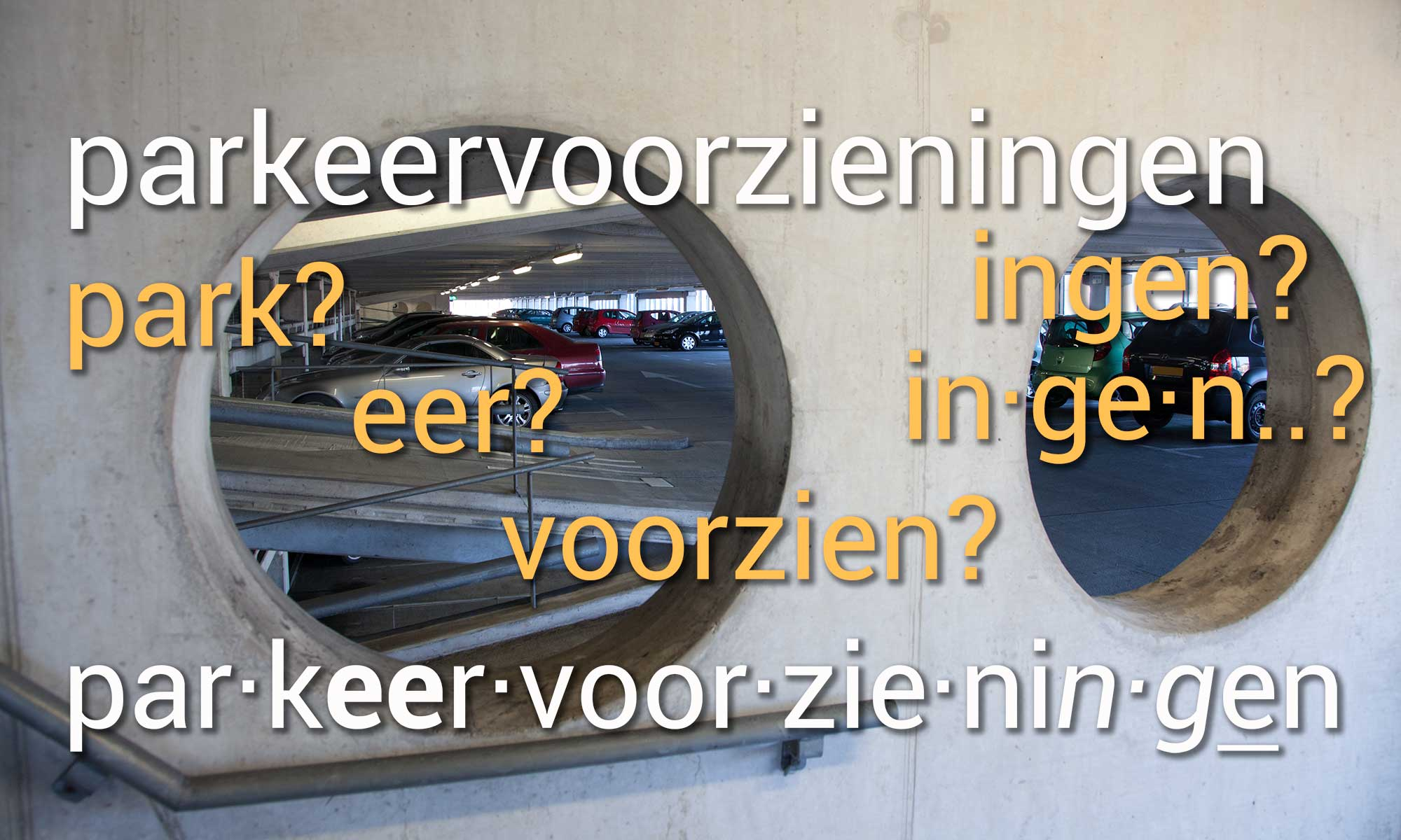 example of the hyphenation of a long word in the Dutch language, split in syllables