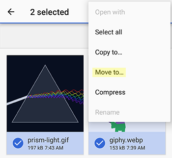 move files from Downloads to GIF-Viewer android app collections folder