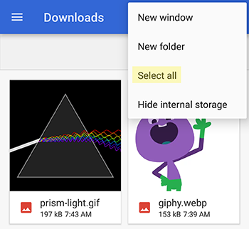 select downloaded gif and webp images for GIF Viewer Extra Android app collection