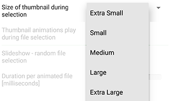 thumbnail size preference option GIF-Viewer player Android app