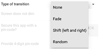 type of transition preference of GIF Viewer Android app