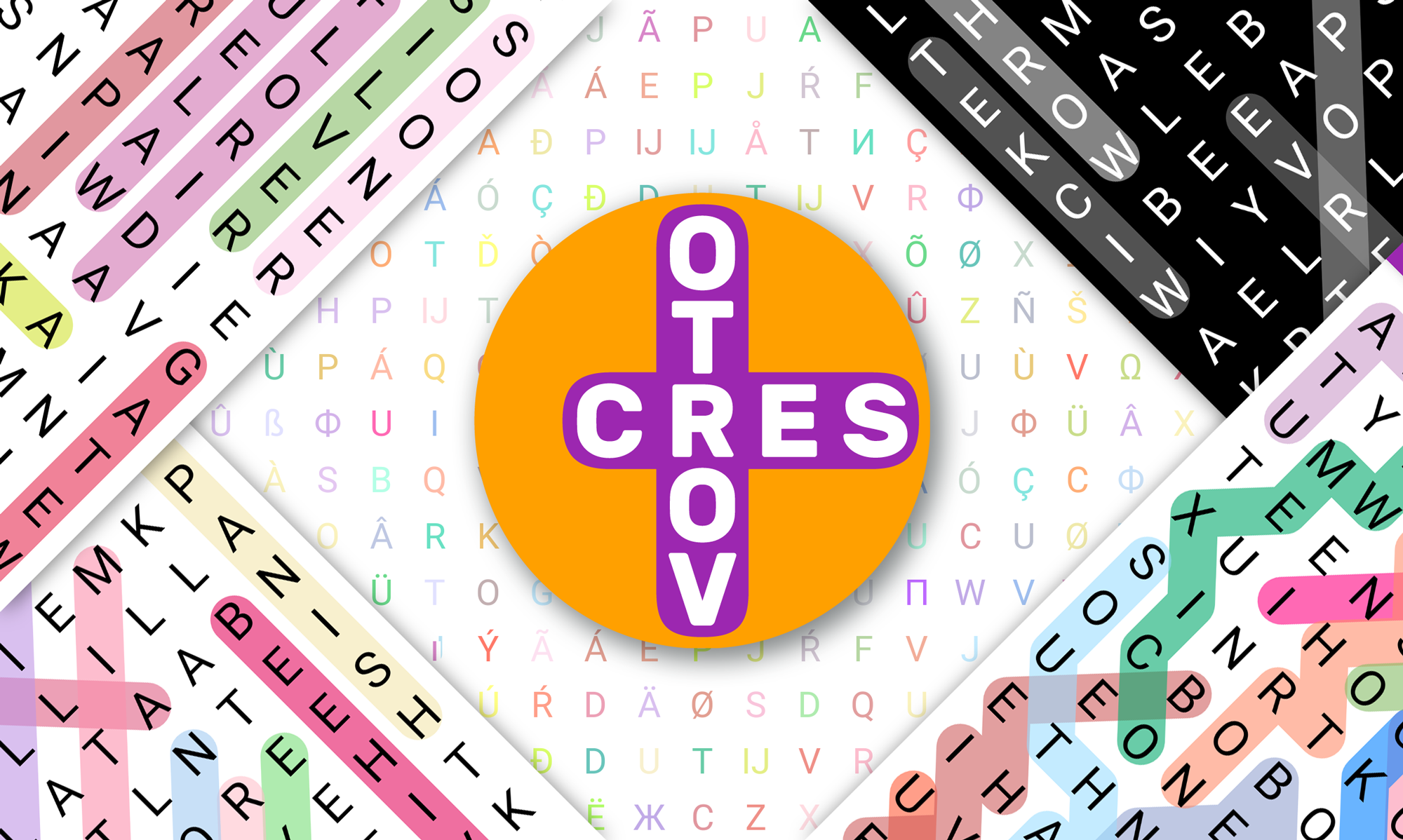 examples of the Vortoserc app's unique word search puzzles