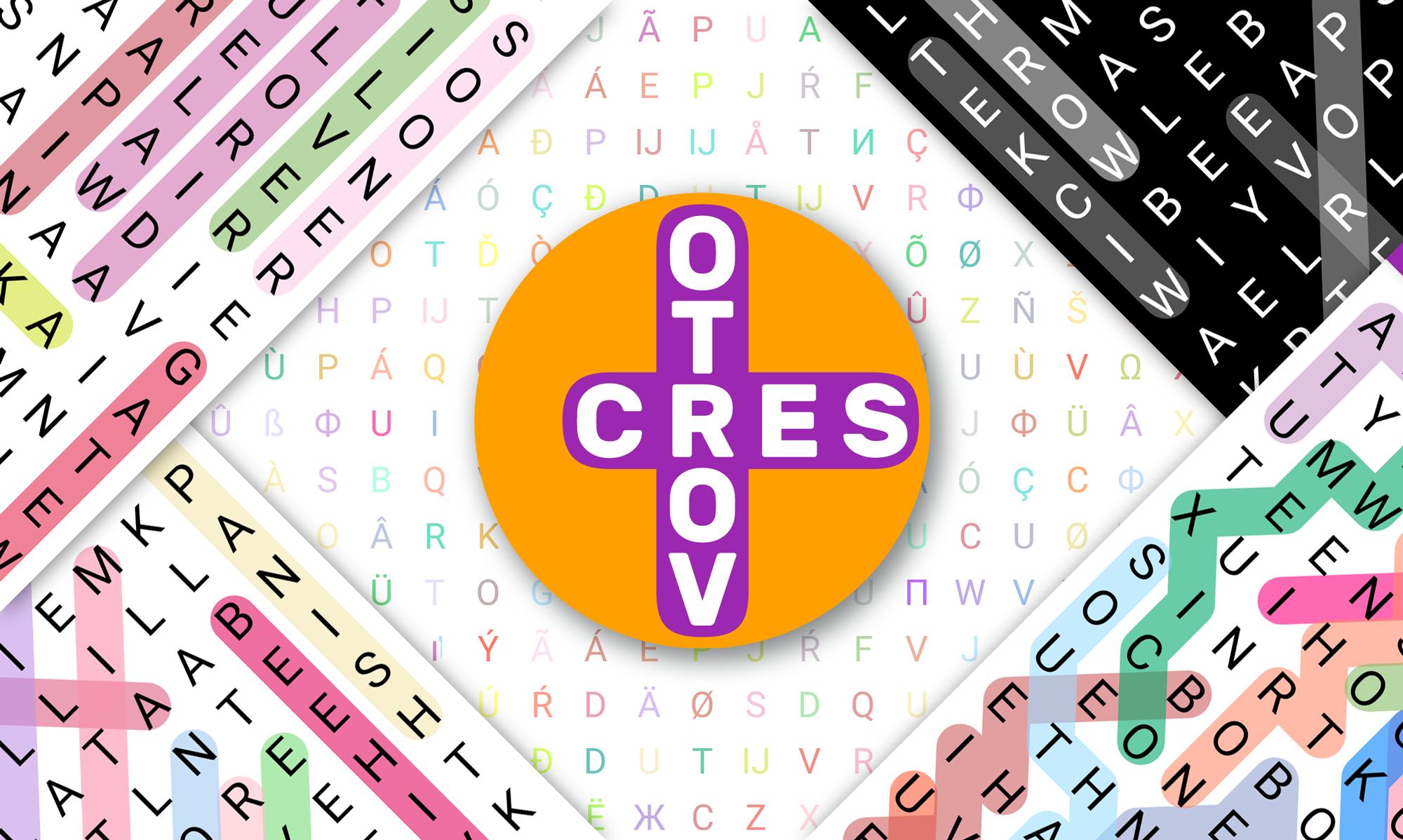 Beispiele für die einzigartigen Wortsuchpuzzles, die mit der Vortoserc App von Prosults Studio gemacht wurden